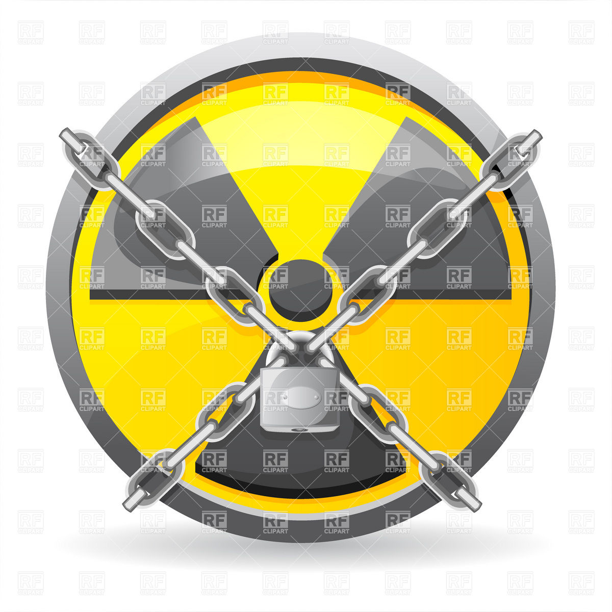 1200x1200 Padlock With Chains On Radiation Sign Vector Image Vector