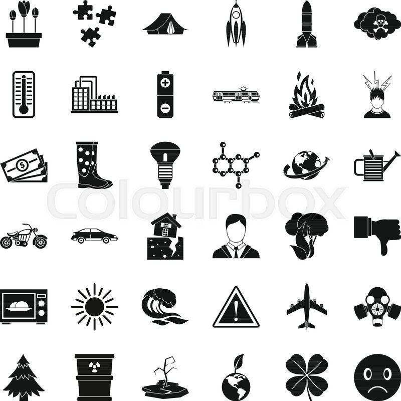 800x800 Radiation Icons Set. Simple Style Of 36 Radiation Vector Icons For