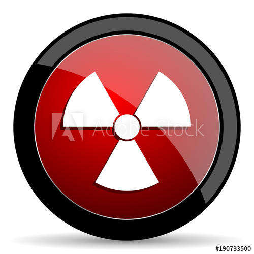 500x500 Radiation Vector Icon. Modern Design Red And Black Glossy Web And