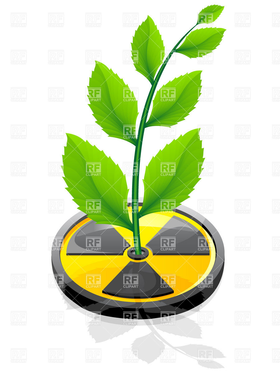 900x1200 Green Plant Growing Out Radiation Sign Vector Image Vector