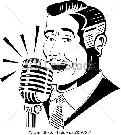 421x470 Radio Announcer On Microphone Clip Art.