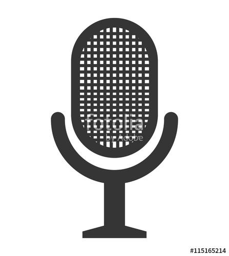 447x500 Radio Microphone Isolated Flat Icon, Vector Illustration Graphic