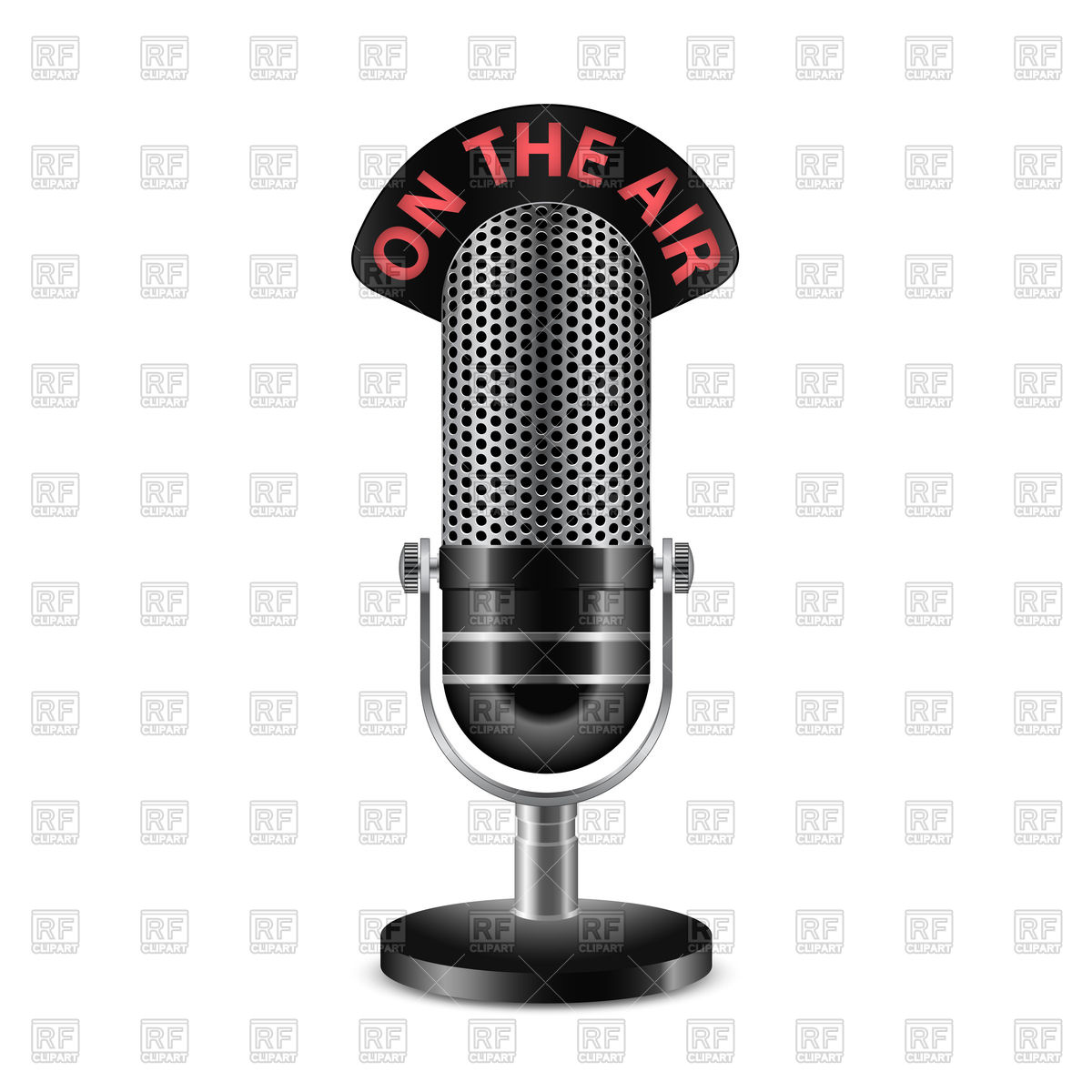 1200x1200 Retro Radio Microphone With On The Air Caption Vector Image