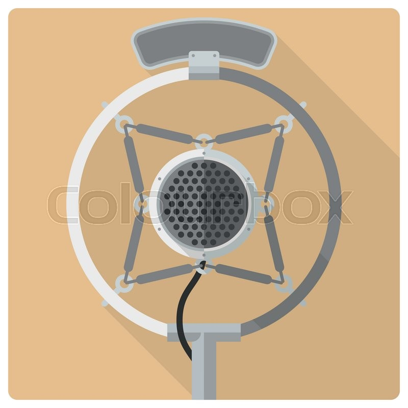 800x800 Retro Styled Flat Design Vector Icon Of Vintage Radio Microphone
