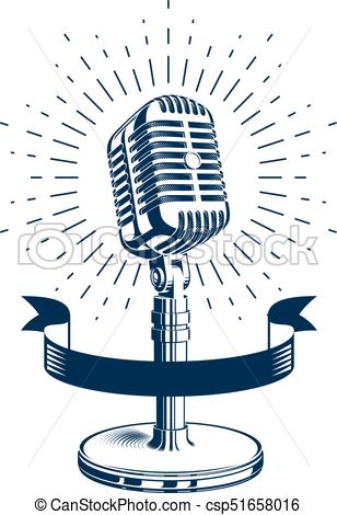 308x470 Stage Microphone Vector Symbol Isolated On White. Radio Music