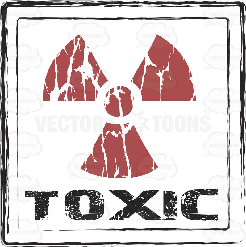 797x800 Trefoil Atomic Radioactive Symbol In Red Above The Word Toxic
