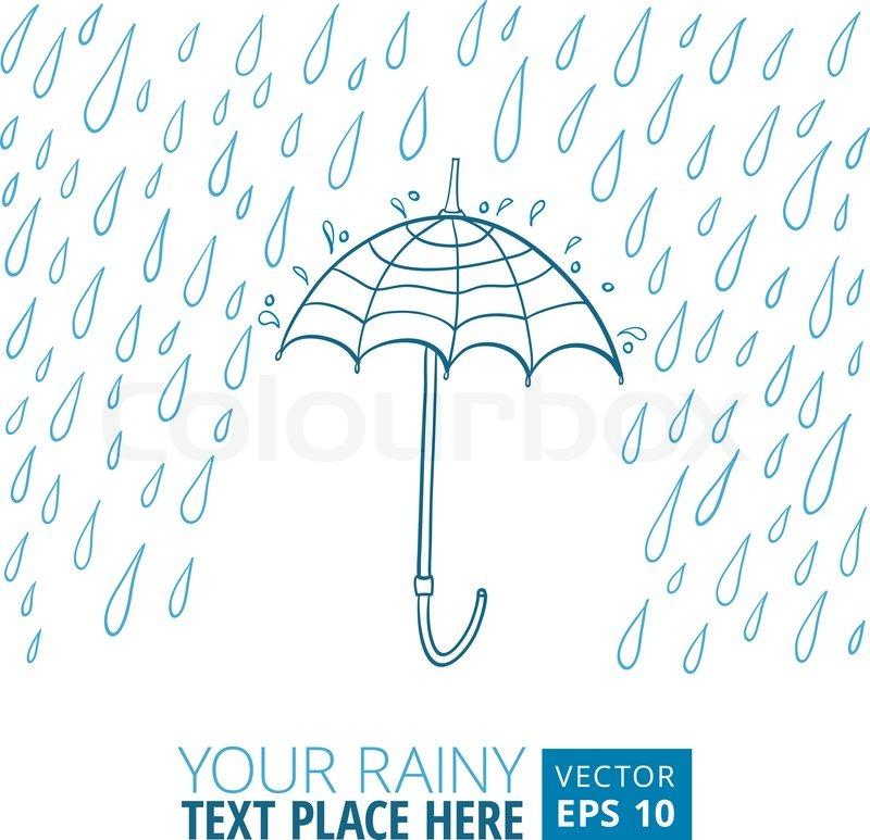 800x773 Vector Illustration Of Umbrella And Rain Stock Vector Colourbox