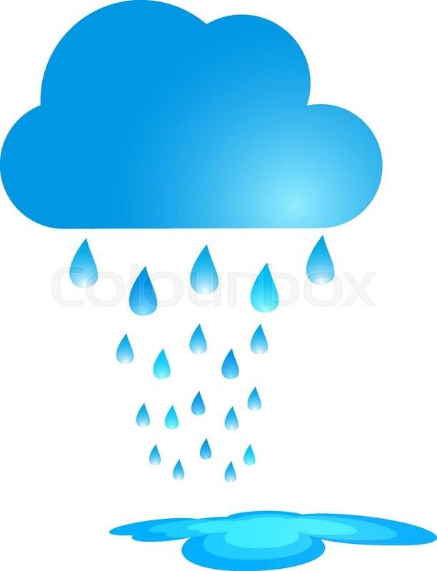 612x800 Blue Rain Cloud Vector Illustration. Rain And Puddle Stock