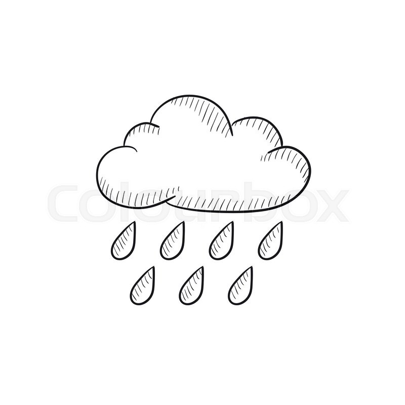 800x800 Cloud And Rain Vector Sketch Icon Isolated On Background. Hand