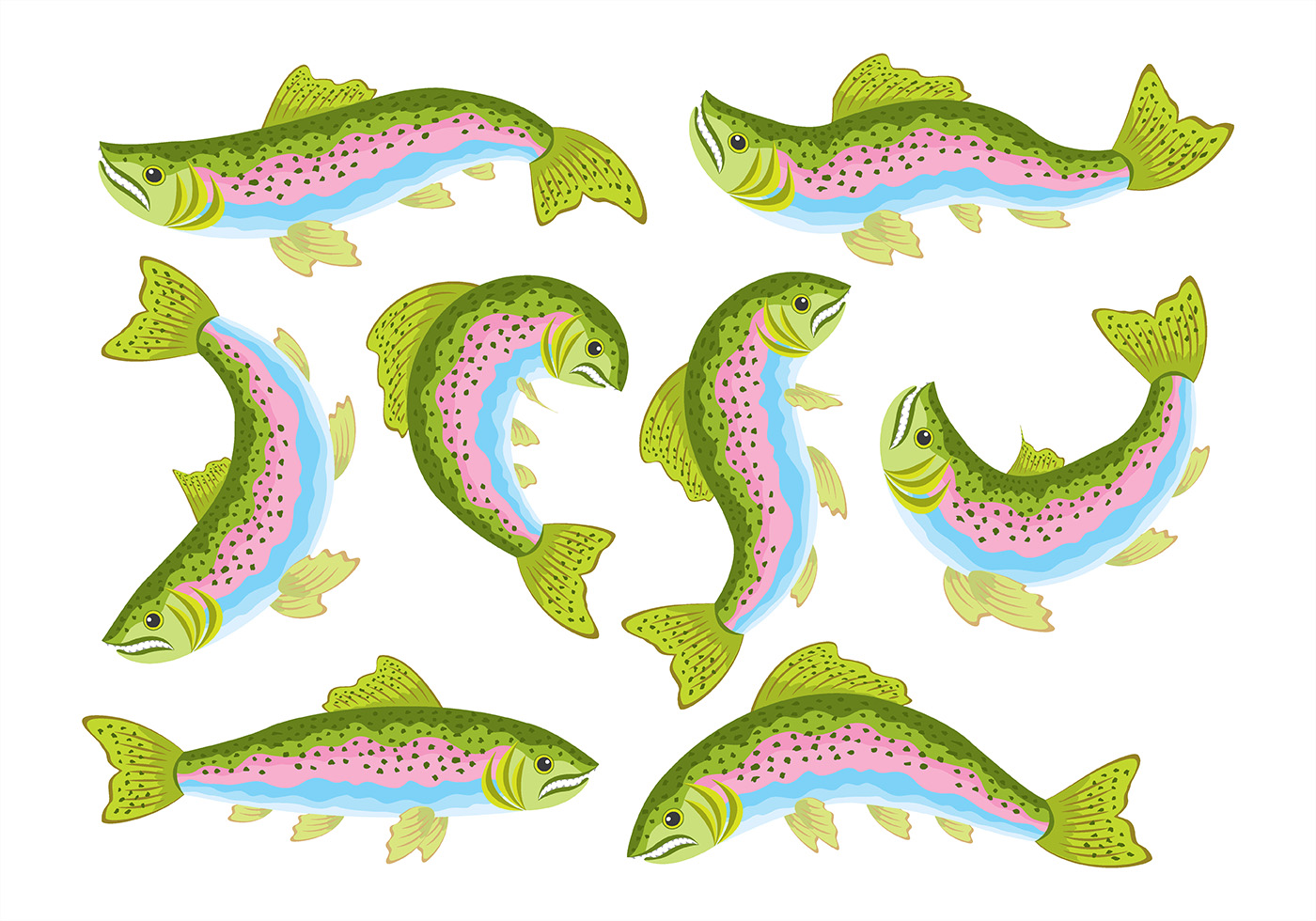1400x980 Rainbow Trout Icons Download Free Vector Art Stock Clipart