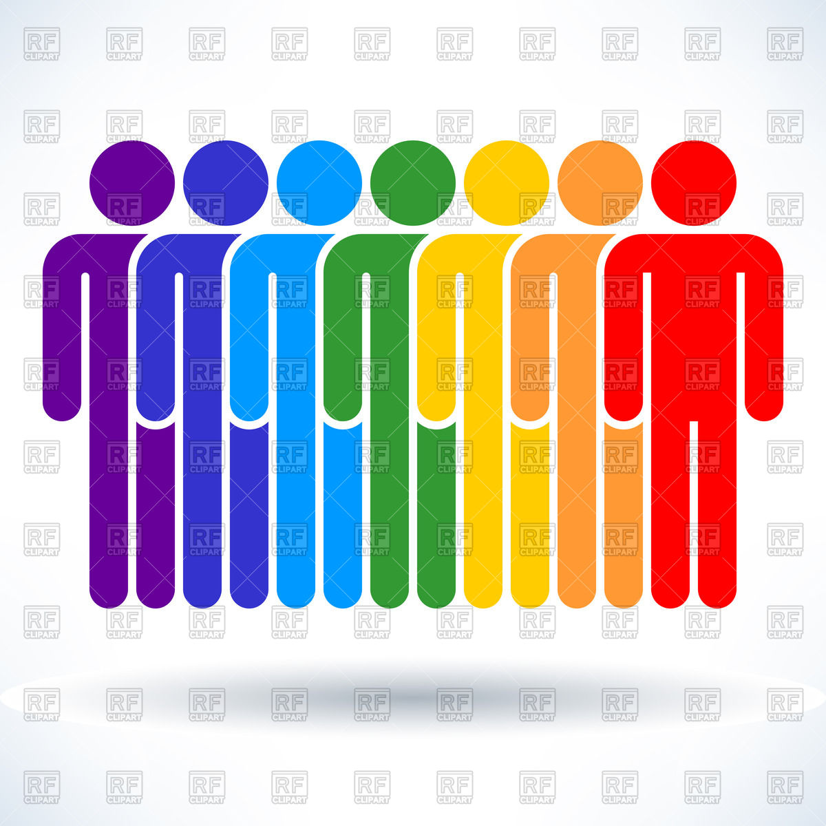 1200x1200 Row Of Rainbow People