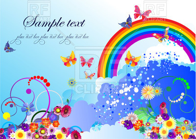 400x283 Summer Background With Butterflies And Rainbow Vector Image
