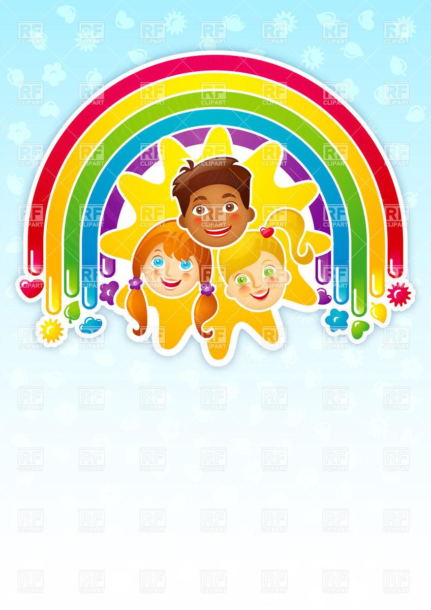 848x1200 Three Happy Children In A Rainbow Vector Image Vector Artwork Of