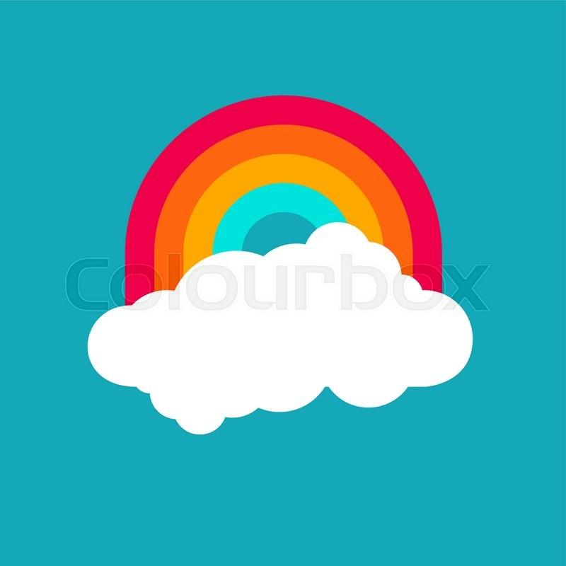 800x800 Vector Rainbow Sky. Blue Sky Background With Rainbow. Weather Icon