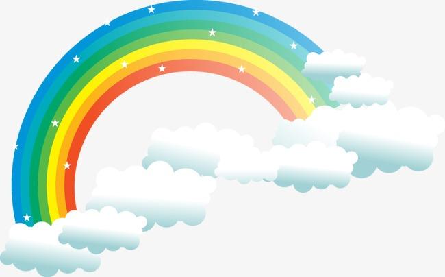 650x404 Vector Rainbow Clouds Cartoon Elements, Rainbow Vector, Cartoon