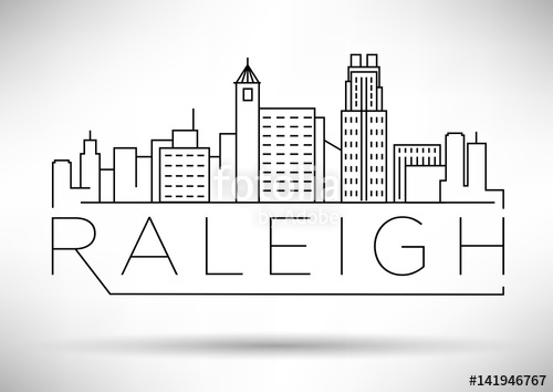 500x354 Minimal Raleigh Linear City Skyline With Typographic Design Stock