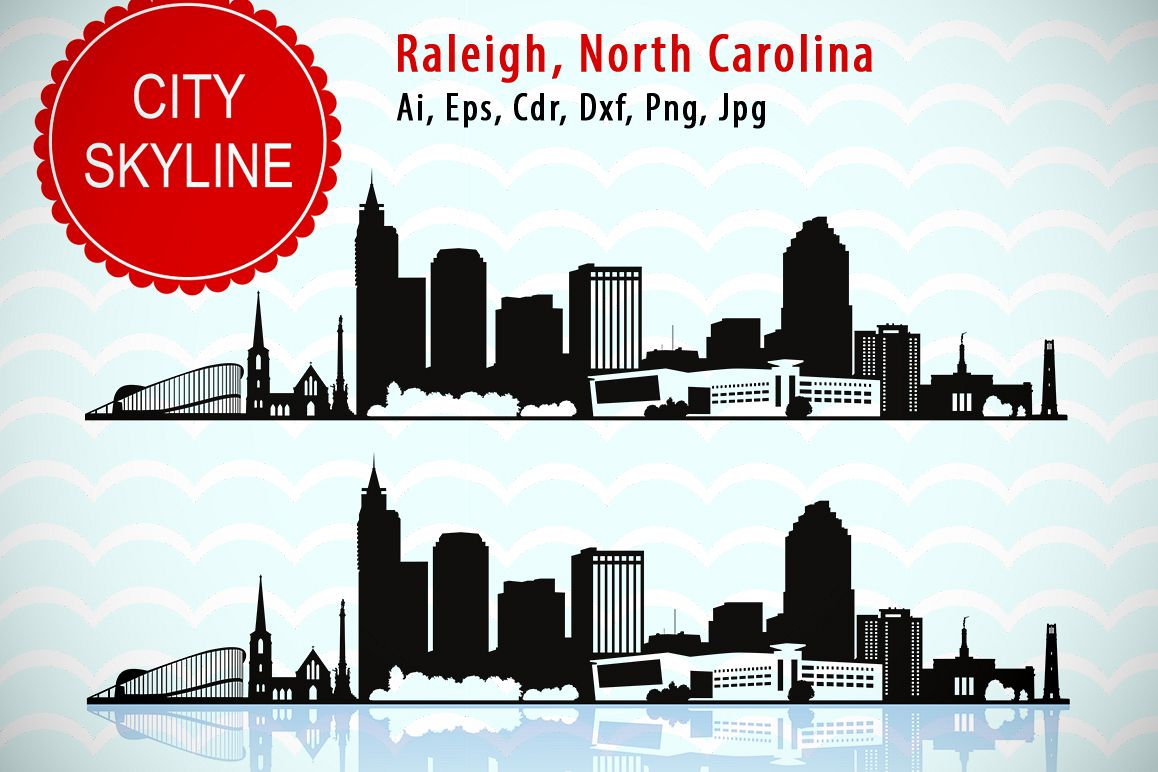 1158x772 Raleigh City, North Carolina Svg Vector Skyline Silhouette, Usa