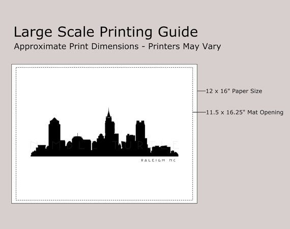 570x450 Raleigh Skyline Silhouette Printable Download