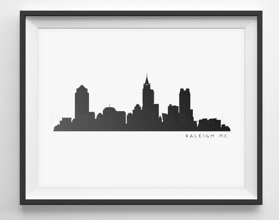 570x450 Raleigh Skyline Silhouette Printable Download Black And Etsy