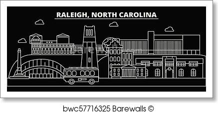 437x227 Art Print Of Raleigh Silhouette Skyline. Usa
