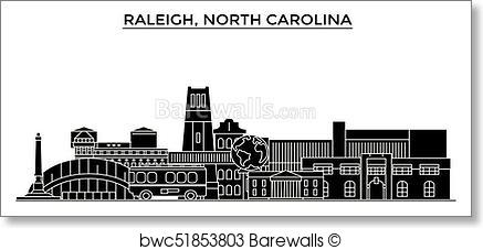 437x227 Art Print Of Usa, Raleigh, North Carolina Architecture Vector City