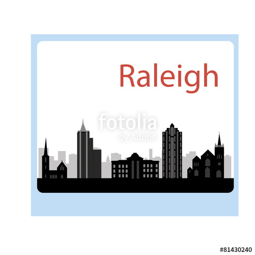 500x500 Cartoon Skyline Silhouette Of The City Of Raleigh, North Carolin