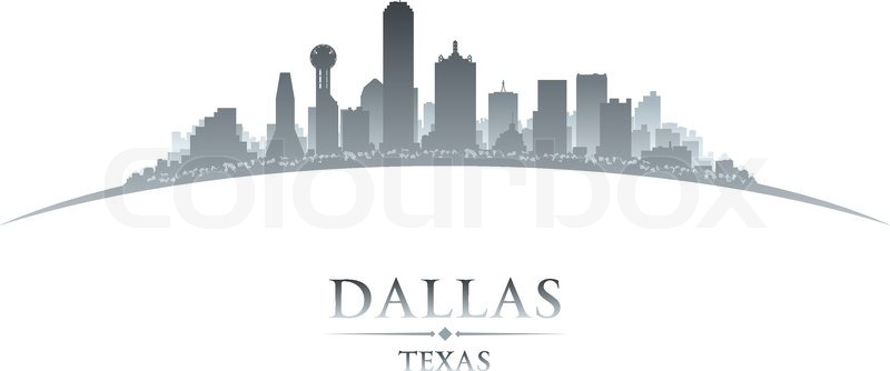 800x334 Dallas Texas City Skyline Silhouette. Vector Illustration Stock