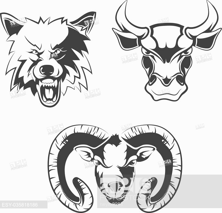 729x699 Vector Elements For Sport Team Labels With Wolf, Bulls And Ram