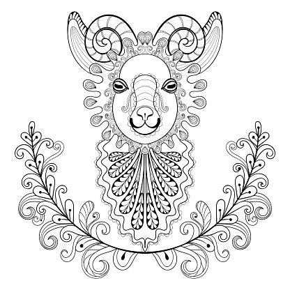 416x416 Ram With Floral Vector Ram Head Illust Premium Clipart