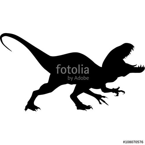 500x500 Dinosaur. Raptor Tyrannosaurus Vector Black Silhouette Stock