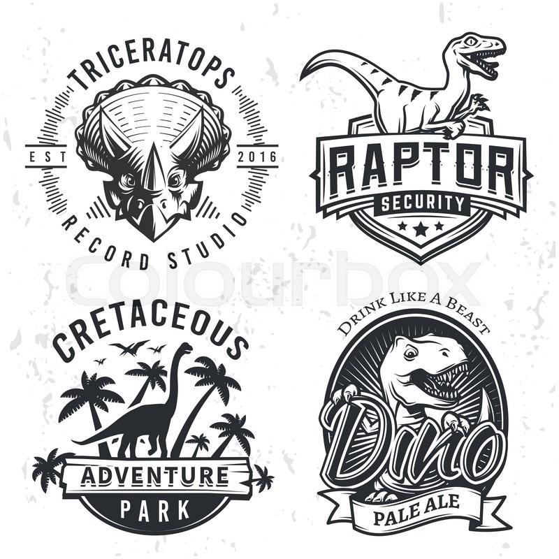 800x800 T Rex4set Of Dino Logos. Raptor T Shirt Illustration Concept On