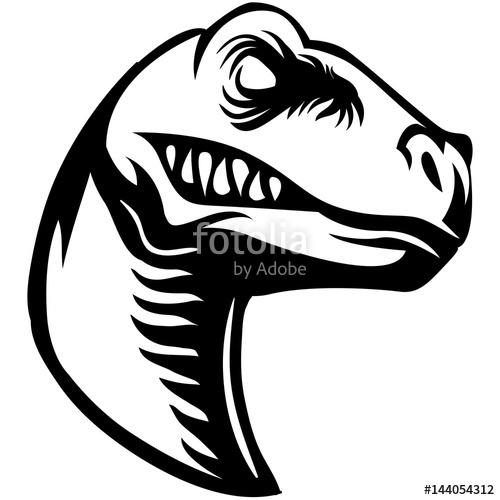 500x500 Scary Raptor Head Clipart Black And White Stock Image And Royalty