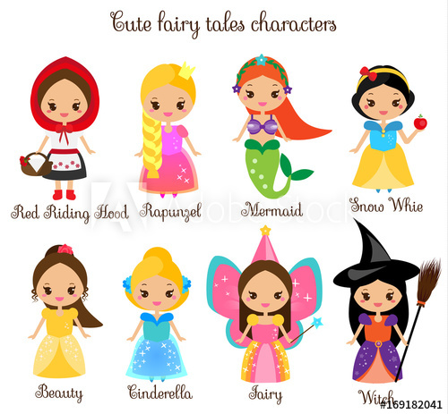 500x463 Cute Kawaii Fairy Tales Characters. Snow White, Red Riding Hood