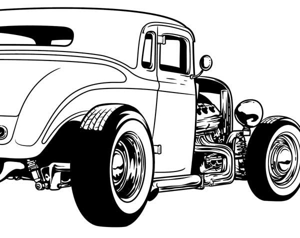 600x476 Cool Hot Rod Coloring Pages Download Vector About Hot Rod Vector