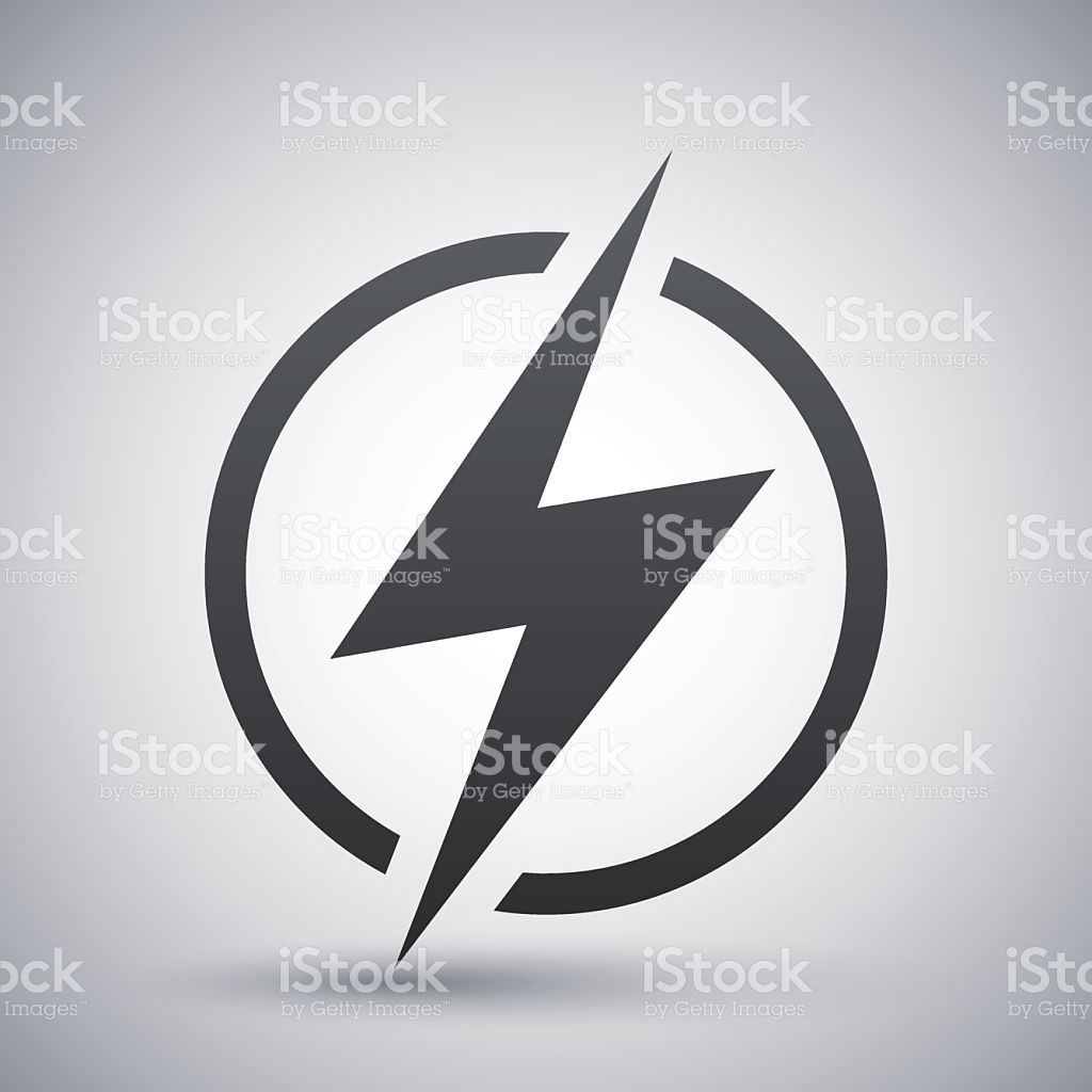 1024x1024 Lightning Icon, Vector On A Gray Background With A Shadow
