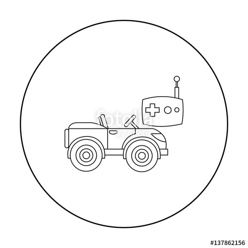 500x500 Rc Car Icon In Outline Style Isolated On White Background. Play