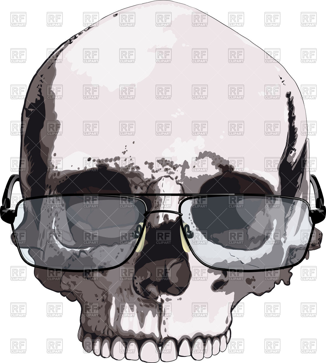 1078x1200 Intelligent Looking Skull In Reading Glasses Isolated On White
