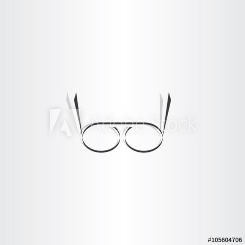 500x500 Stylized Black Reading Glasses Icon Vector