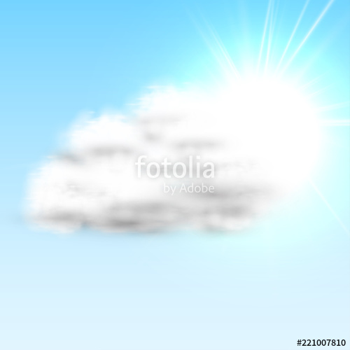 500x500 Realistic Cloud With Sun And Blue Sky, Vector Illustration Stock