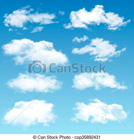 450x470 Set Of Realistic Vector Clouds. Set Of Realistic Clouds. Vector