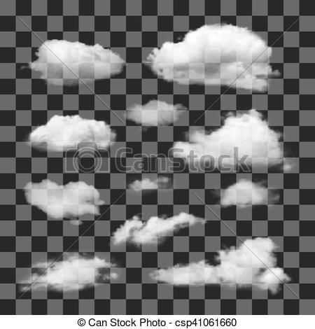 450x470 Set Of Transparent Different Clouds. Set Of Transparent Realistic
