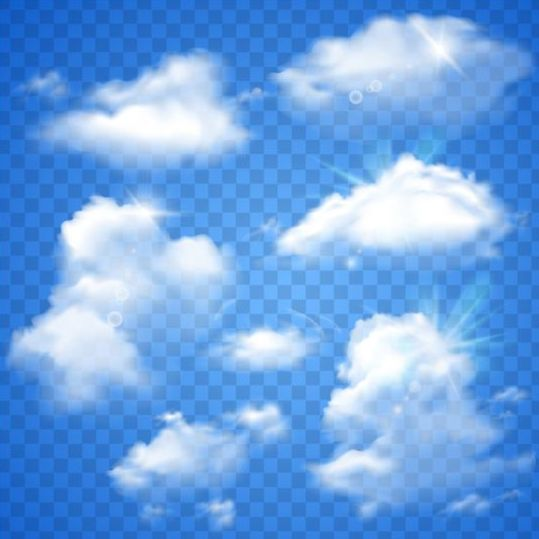 539x539 White Clouds Illustration Vector Set 01 Free Download