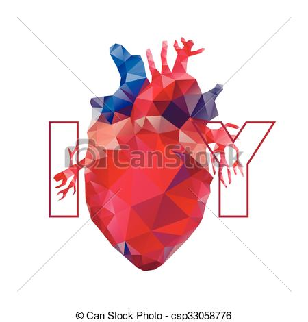 450x470 Realistic Polygonal Heart. Anatomy Collection