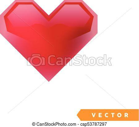450x412 Realistic Red Valentine Heart. Vector Illustration.