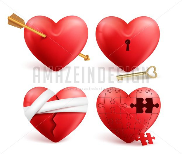 623x527 Red Hearts Vector 3d Realistic Set For Valentines