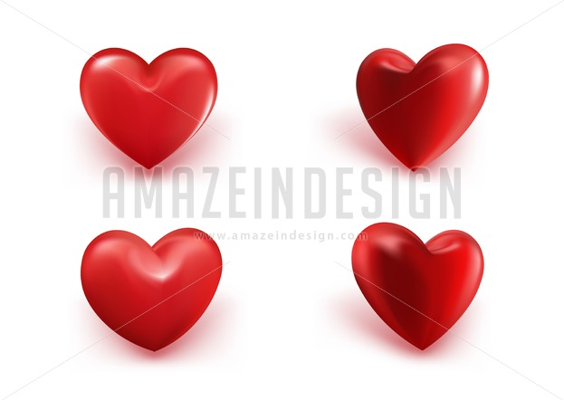 623x442 Sets Of Realistic Hearts Vector Illustration
