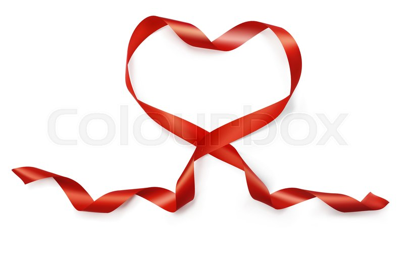 800x500 Valentine Day Realistic Heart From Red Silk Ribbon Vector On White