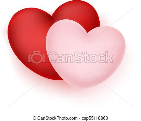 450x387 Vector Realistic Hearts. Vector Realistic Red, Pink Elegant Hearts