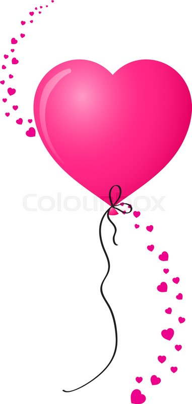 381x800 Vibrant Pink Realistic Heart Shaped Helium Balloon With Vertical