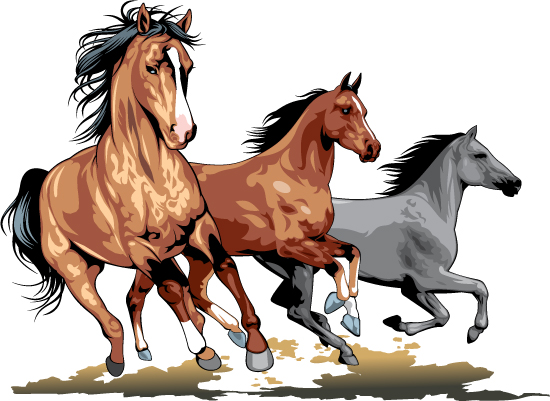550x401 Realistic Running Horses Vector Graphics 05 Free Download